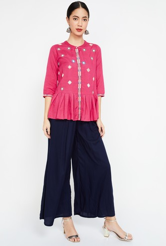 COLOUR ME Embroidered Three-quarter Sleeves Regular Fit Top