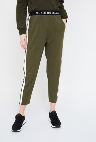GINGER Printed Knitted Slim Fit Crop Trousers
