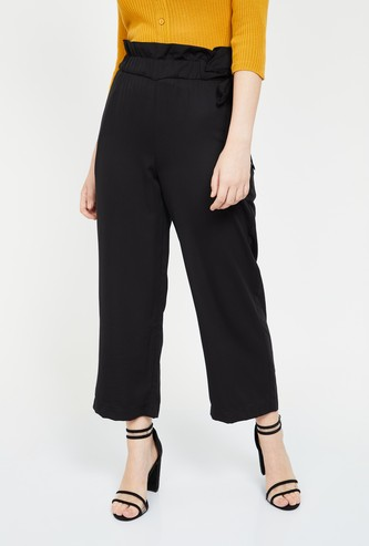 GINGER Solid Paperbag Waist Regular Fit Trousers
