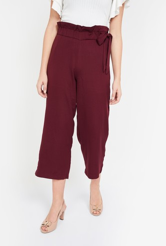GINGER Solid Straight Fit Cropped Pants