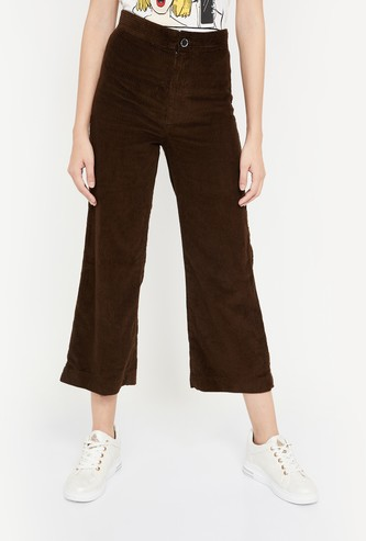 GINGER Solid Corduroy Flared Trousers