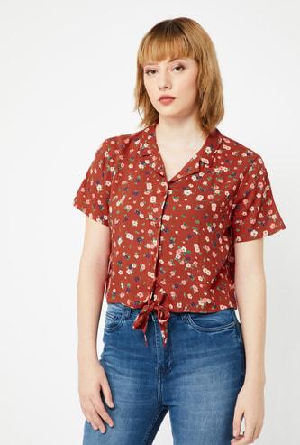 GINGER Floral Print Regular Fit Shirt with Tie-Up Hemline