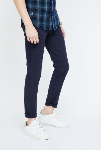 CODE Checked Low Rise Slim Fit Chinos