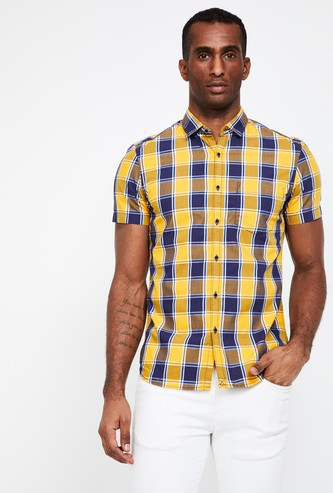 CODE Checked Short Sleeves Slim Fit Shirt