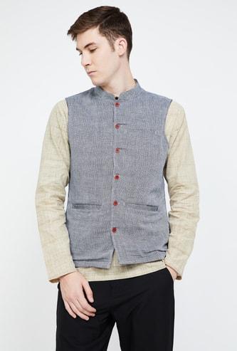 MELANGE Textured Mandarin Collar Ethnic Jacket