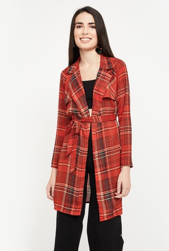 GINGER Checked Regular Fit Tie-Up Shrug
