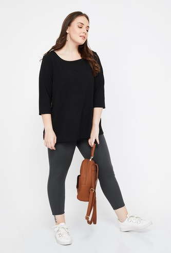 NEXUS Solid Plus-Size Slim Fit Cropped Leggings