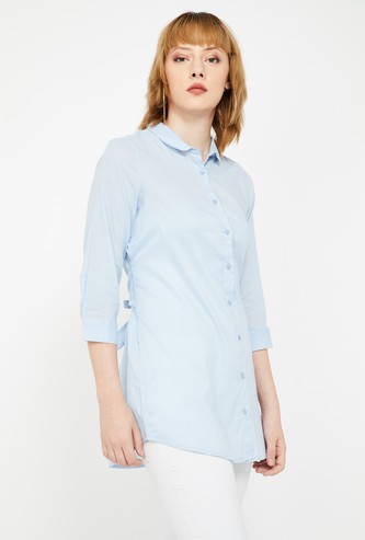 FAME FOREVER Solid Regular Fit Shirt with Tie-Up Detail