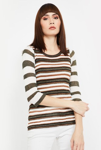 CODE Striped Top with 3/4 Sleeves