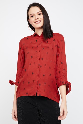 FAME FOREVER Printed Tie-Up Sleeves Shirt