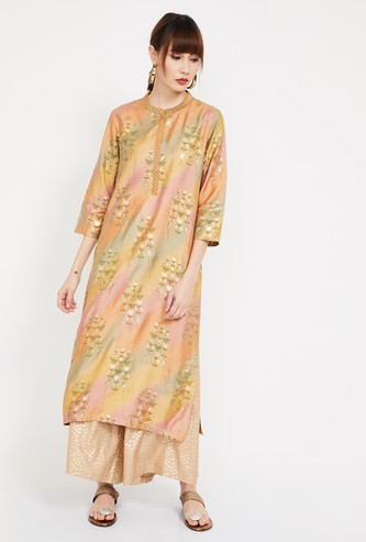MELANGE Floral Print Straight Kurta with Embroidery