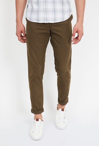 CODE Solid Low Rise Slim Fit Chinos