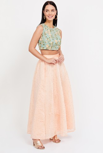 COLOUR ME Embroidered Skirt and Blouse Set