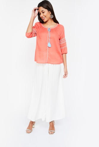 COLOUR ME Embroidered Regular Fit Tie-Up Neck Top