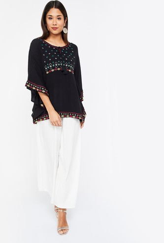 COLOUR ME Embroidered Regular Fit Flared Sleeves Tie-up Neck Top
