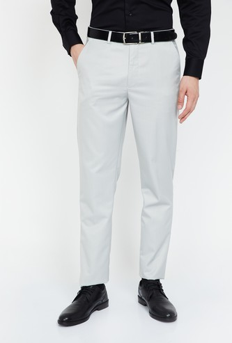 CODE Textured Low Rise Slim Fit Trousers