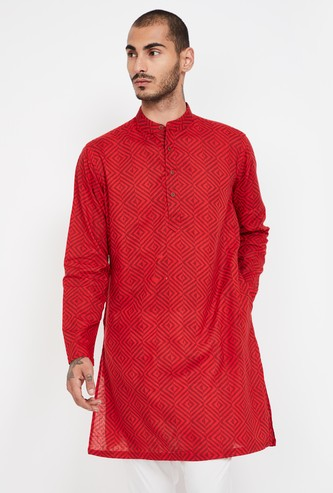 MELANGE Printed Band Collar Kurta