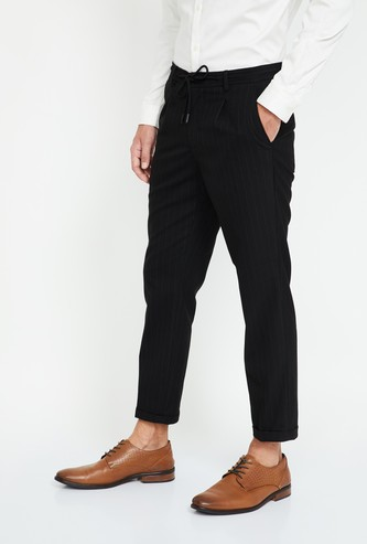 CODE Striped Slim Fit Casual Trousers
