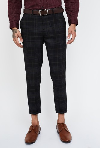 CODE Checked Slim Fit Formal Trousers