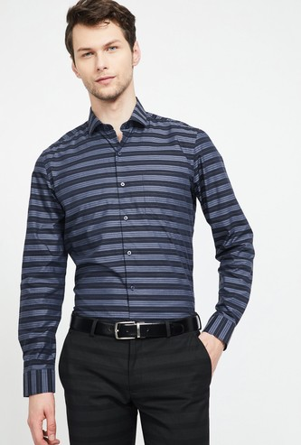 CODE Striped Full Sleeves Slim Fit Shirt