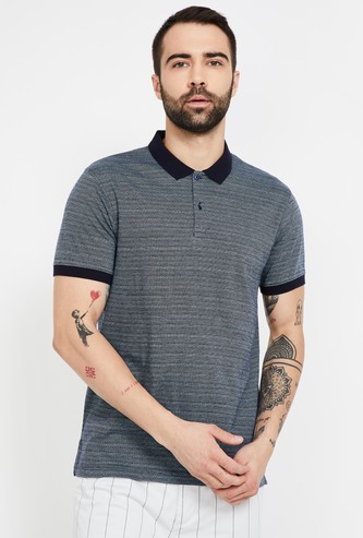 CODE Striped Regular Fit Polo T-shirt