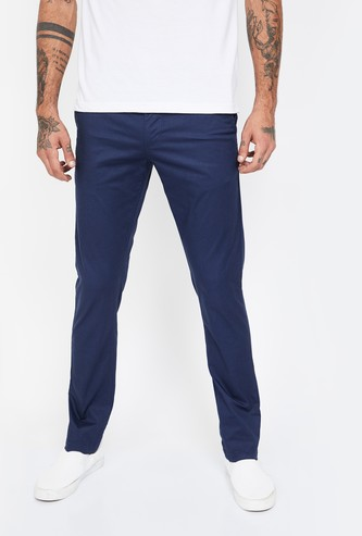 FAME FOREVER Printed Slim Fit Casual Trousers