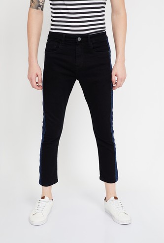 FORCA Solid Skinny Fit Jeans with Contrast Panel