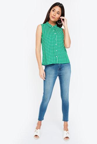 GINGER Dot Print Sleeveless Regular Fit Casual Shirt