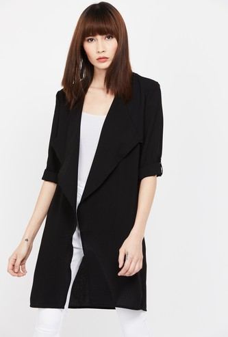 CODE Solid Roll-Up Sleeves Shrug