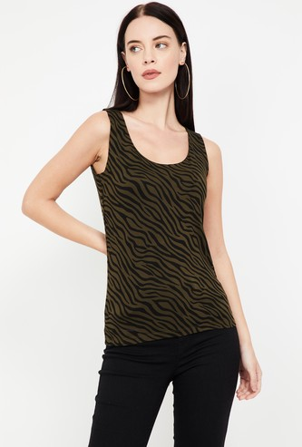 CODE Zebra Print Slim Fit Tank Top
