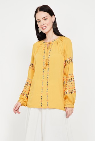 COLOUR ME Embroidered A-line Top
