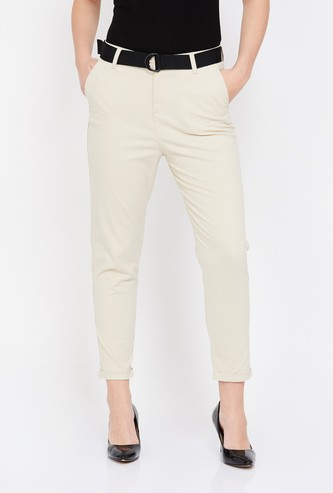 BOSSINI Solid Tapered Trousers with Detachable Belt