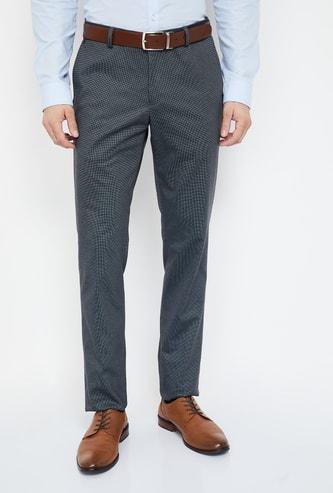 BLACKBERRYS Textured Slim Fit Formal Trousers
