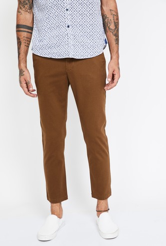 CODE Textured Slim Fit Cropped Chinos