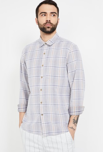 CODE Checked Slim Fit Shirt with Full Sleeves
