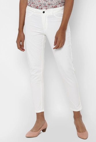 ALLEN SOLLY Solid Skinny Cropped Pants