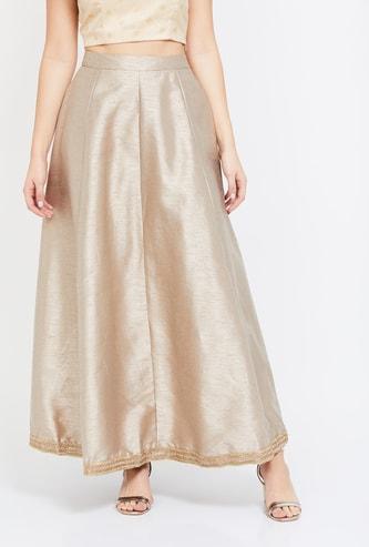 INDYA Solid Maxi Skirt