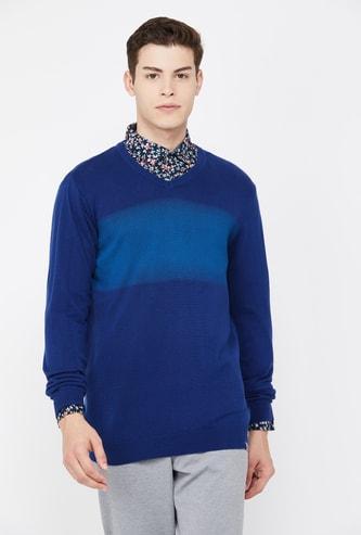 LP SPORT Men Striped V-neck Sweater
