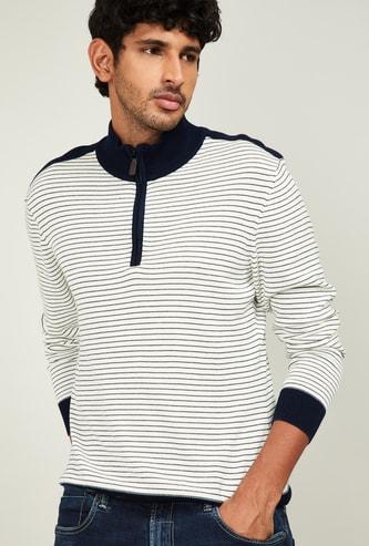 ARROW SPORT Men Striped Sweater with Zipper