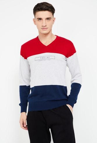 PROLINE Typographic Print V-neck Colourblock Sweater