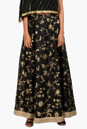 INDYA Women Floral Print Maxi Skirt