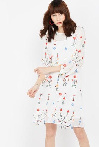VERO MODA Floral Embroidered Dress