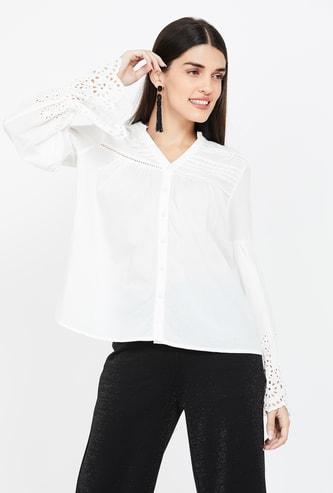 Vero Moda Bell Sleeves Regular Fit Laser Cut Shirt