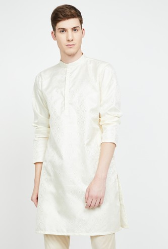 MELANGE Textured Band Collar Kurta