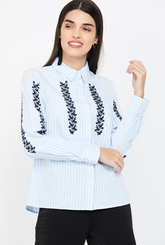 VERO MODA Floral Embroidery Striped Regular Fit Shirt