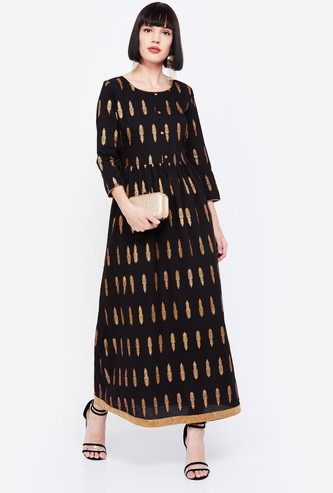 IMARA Foil Print Three-Quarter Sleeves Maxi Dress