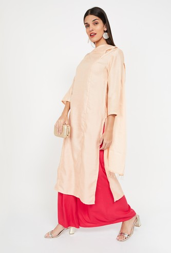 IMARA Solid Kurta with Attached Dupatta