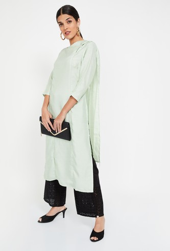 IMARA Solid Straight Kurta with Drape
