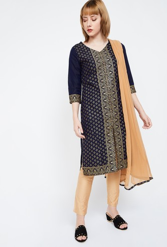 IMARA Zari Print V-neck Kurta with Solid Straight Pants and Dupatta
