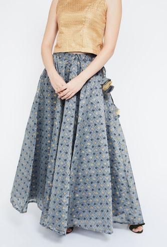 IMARA Printed Maxi Skirt with Tassel Drops